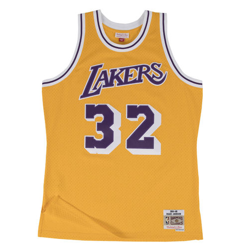 Camiseta Magic Johnson. Los Angeles Lakers. Hardwood Classics. Amarilla