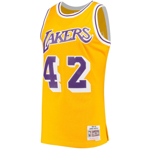 Camiseta James Worthy. Los Angeles Lakers. Hardwood Classics. Amarilla