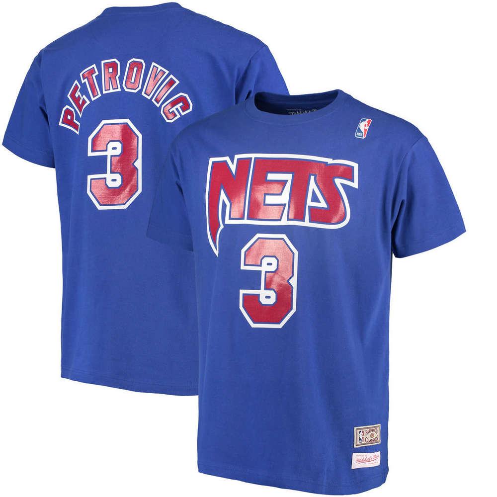 5e4649329540 Camiseta Drazen Petrovic. New Jersey Nets. NBA Hardwood Classics manga corta