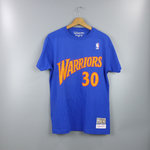 Camiseta Stephen Curry. Golden State Warriors. NBA Hardwood Classics manga corta azul royal