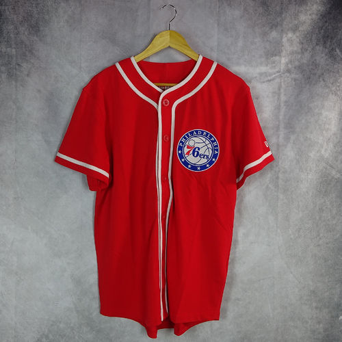 Camiseta Philadelphia 76ers Button Up, rojo. New Era