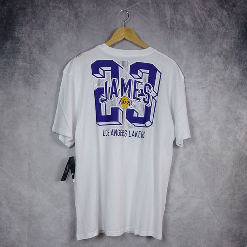 Camiseta manga corta Lebron James. Los Ángeles Lakers. NBA. Blanca. Outer Stuff