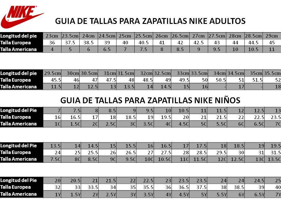 Guía de tallas Nike para niñoa. (ES)